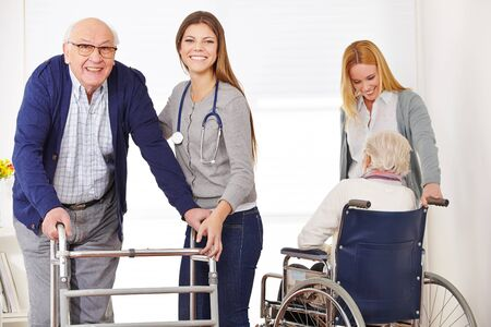 Care of seniors with wheelchairs and walkers in the nursing home