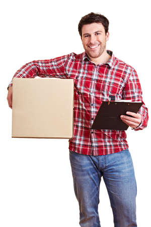 Courier service carries large package and clipboard Archivio Fotografico - 150635470