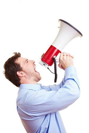 Man shouts loudly into a large megaphone