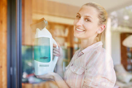 Young woman as a contented cleaner with window vacuum cleaner during glass cleaning Stockfoto