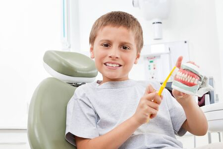 Child at the dentist with toothbrush and a denture model