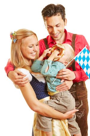 Happy family in Bavaria in classic costume