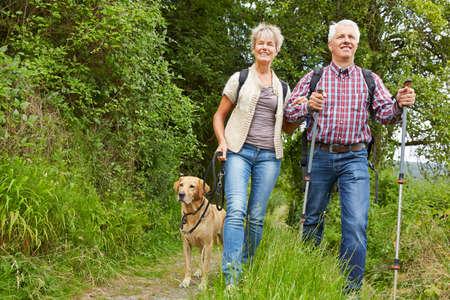Happy couple of seniors with dog walking with dog