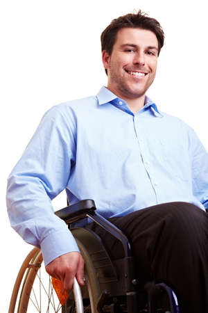 Businessman is sitting in a push-wheel chair