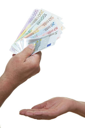 Hand requests euro banknotes from another person Stock fotó