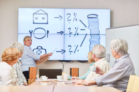 Investment Advisor gives a lecture on financial advice and provision for a senior group
