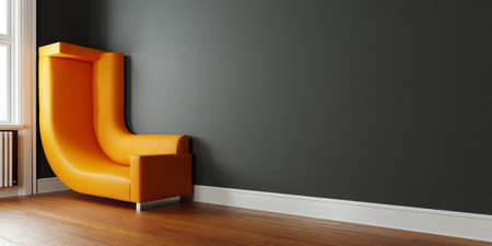 Saving space in a small room with a sofa bent towards the wall (3D Rendering)