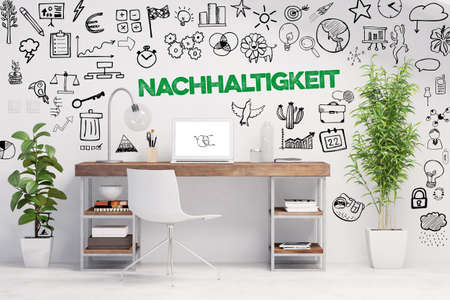 Office desk with laptop and plants and German word