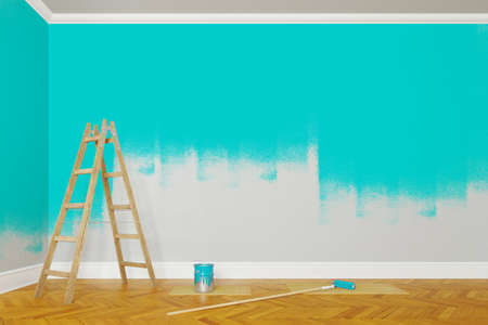 Wall painting with turquoise paint during renovation with ladder (3d rendering)