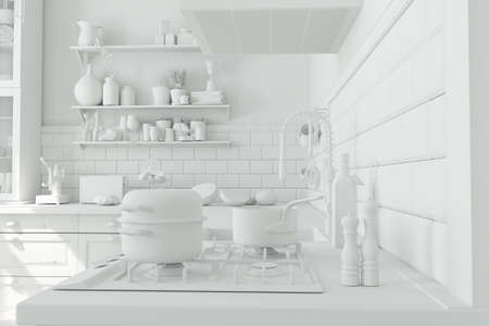 White kitchen with stove and sink as kitchen planning concept (3d rendering)