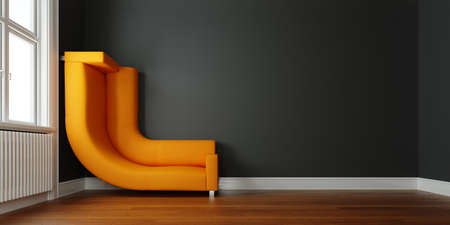 Sofa bent to wall as a solution to space problem in a too small space (3d rendering) Фото со стока