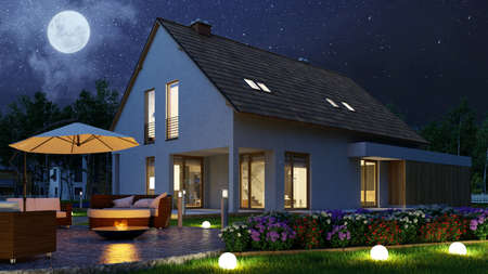 Light in the garden of family house with fire bowl at night at full moon (3D rendering)