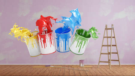 Colorful paint pail with wall paint during renovation in front of a wall (3d rendering)