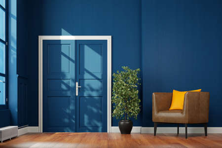 Corridor hallway with hinged door and leather armchair in front of a blue wall (3d rendering)