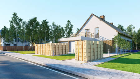 Many boxes of home with garden as a concept for home insurance (3D rendering) Фото со стока