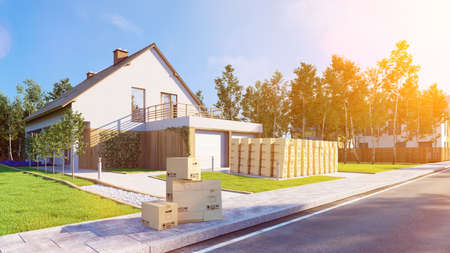 Many moving boxes are mounted outside a house in the garden during a move with a forwarding agency (3D rendering) Фото со стока