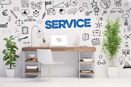 Service concept over desk workplace in home office (3D rendering)