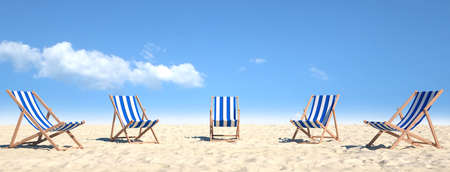 Multiple empty beach chairs stand on sand on the beach in summer (3D rendering)