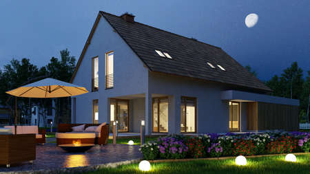 Detached house with light in the garden at night by flare ball and fire bowl (3D rendering)