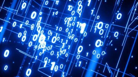 Modern digital technology background with many binary numbers Фото со стока