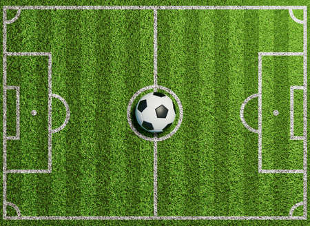 Background of a soccer field seen from above with green grass as lawn (3D rendering)