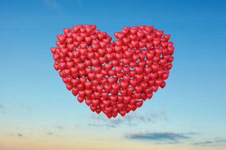 Red heart balloons for wedding or Valentine's Day in the blue sky (3d rendering)