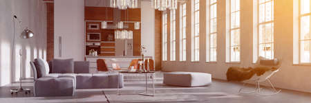Sunny loft with eat-in-kitchen and sofa in summer (3D rendering)