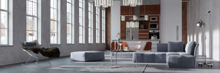 Panorama of a modern bright loft with integratedn kitchen behind living room (3D rendering)