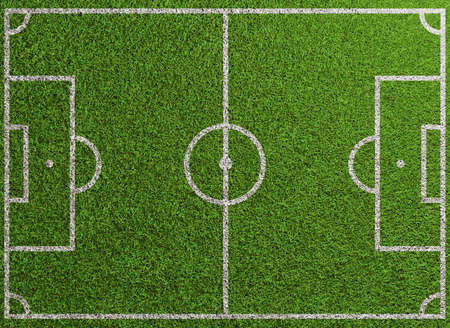 Football and soccer field seen from above with green lawn and markings (3D Rendering) Фото со стока