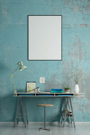 Blank picture frame on wall over desk in study (3d rendering)