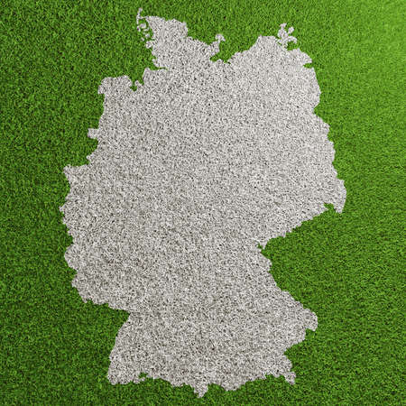 Green soccer lawn with germany map from above (3D rendering)