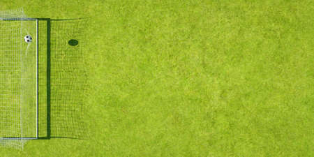Football hits the net of a goal on a soccer playing field seen from above (3D rendering)