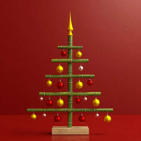 Funny Christmas tree made of bamboo with Christmas baubles as decoration for Christmas (3D Rendering)