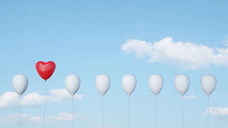 Red heart balloon flies in the sky for wedding or Valentine's Day (3d rendering) Фото со стока