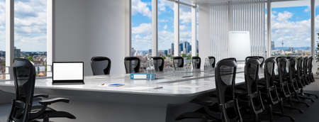Conference room with a white laptop computer monitor on the table (3d rendering)