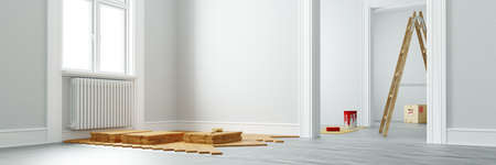 Lay parquet and paint wall during renovation before moving (3d rendering)