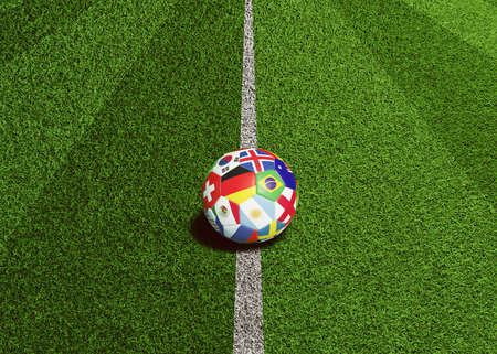 Soccer ball with flags of the world is ready for kick off on center line on artificial grass field (3D rendering) Фото со стока