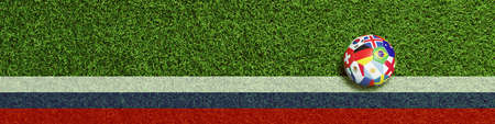 Panorama banner for football in Russia with soccer ball lying in the playing field seen from above (3D Rendering) Фото со стока
