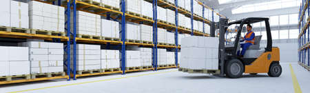 Worker with forklift loads boxes in a warehouse or factory in industry, logistics or shipping (3D rendering) Banque d'images