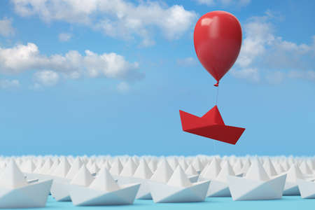 Innovation and individuality concept with a red paper boat on a balloon (3d rendering) Фото со стока