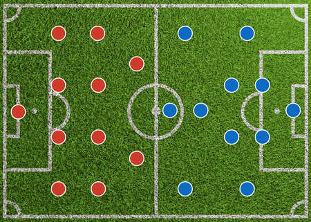 Soccer lineup of two teams with different game systems as graphic on football field (3D rendering)