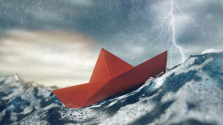 Risk concept with a red paper boat in the storm on the sea (3D rendering)