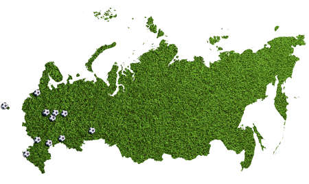 Russia as green soccer lawn with balls on stadium locations for championship Фото со стока