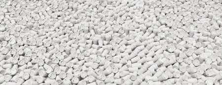 Many empty coffee paper cups as a background on a landfill (3D rendering)
