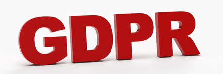 Concept image for GDPR with 3D lettering in red in white room (3D rendering)