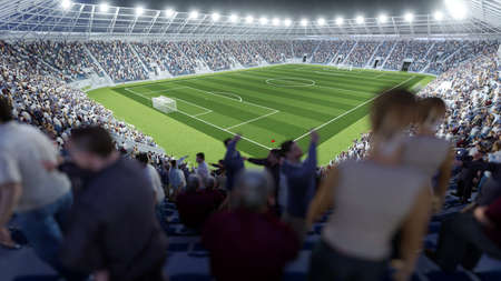 Full football stadium with many spectators in the stands after the final whistle (3D rendering)