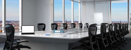 Modern business meeting room with laptop computer on the conference table (3D rendering) Фото со стока