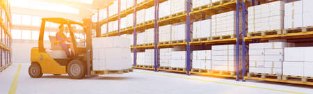 Logistics of freight forwarder with worker in forklift in a large warehouse (3D rendering)