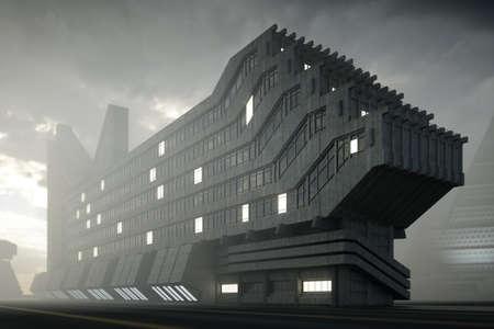 Modern skyscraper in dark futuristic city Фото со стока