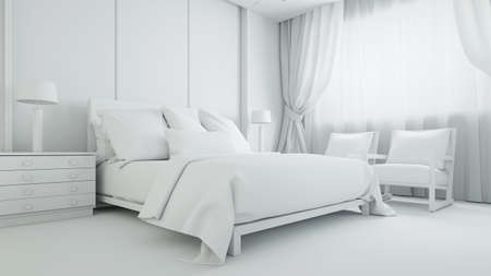 White bedroom or hotel room with a double bed (3D rendering)